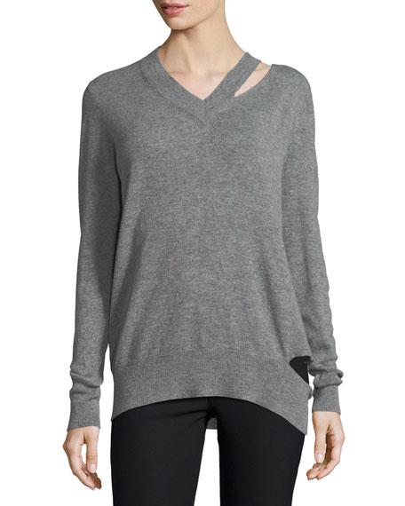 Slash V-Neck Oversized Pullover Sweater