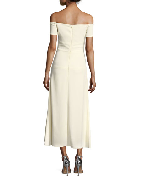 Wisteria Off-the-Shoulder Embroidered Crepe Dress