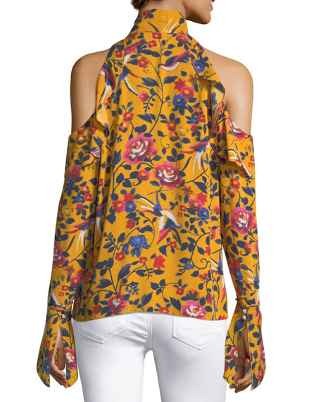 Adriene Floral-Print Cold-Shoulder Top