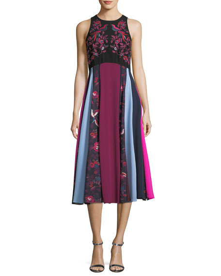 Hillary Floral-Embroidered Colorblocked Midi Dress