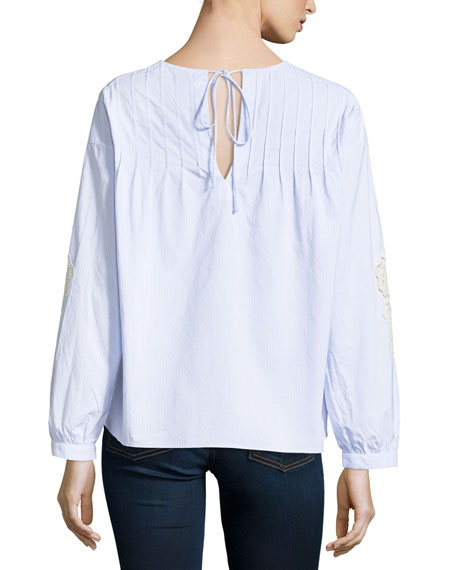 Veron Pleated Poplin Top w/ Embroidery