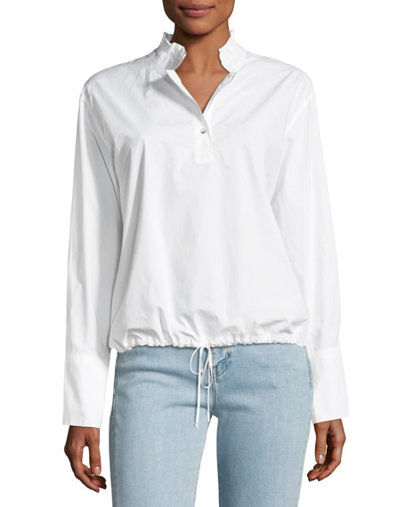 MiH Drawstring Stand-Collar Poplin Top
