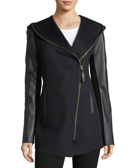Fae Zip-Front Hooded Wool Leather Jacket
