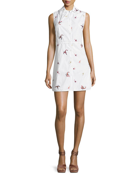 Opening Ceremony Scorpion Sleeveless Gathered Cotton Dress