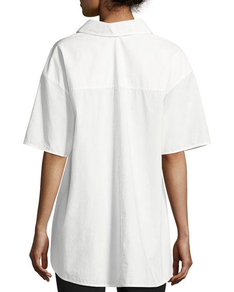 Convertible Poplin Gathered Button-Front Shirt