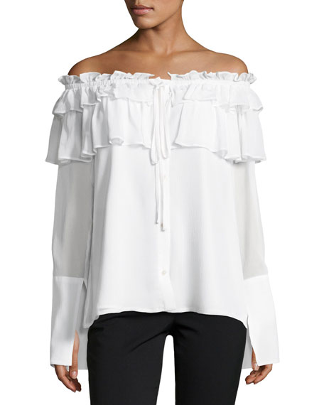Opening Ceremony Crinkle Off-the-Shoulder Chiffon Layered Top