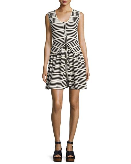 Striped Button-Front Sleeveless Cotton Dress