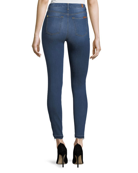 High-Waist Ankle-Skinny Jeans w/ Side Hem Splits
