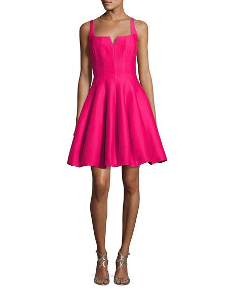 Sleeveless Geo-Neck Faille Cocktail Dress