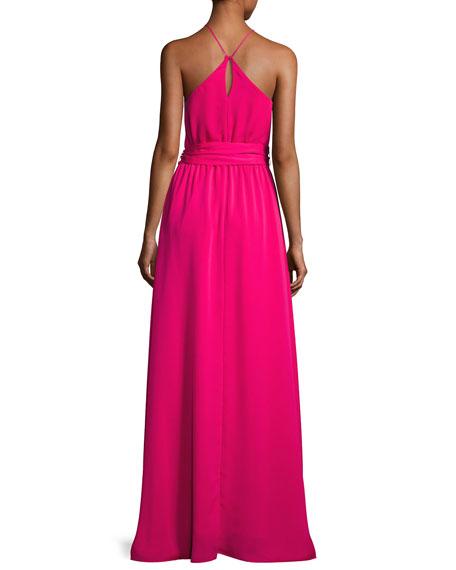 Sleeveless Round-Neck Flowy Gown W/ Sash