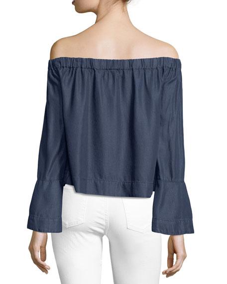 Off-the-Shoulder Long-Sleeve Denim Top