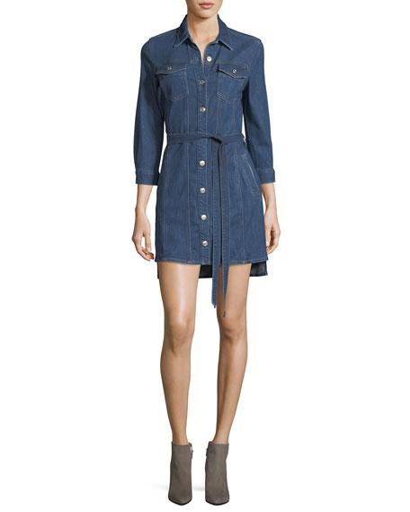 Trucker Long-Sleeve Button-Front Belted Denim Dress