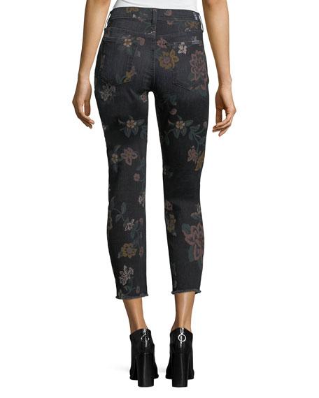 Roxanne Floral-Print Skinny Ankle Jeans w/ Raw Hem