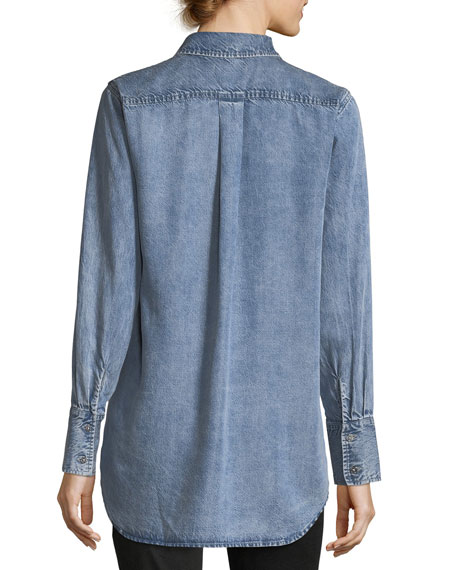 Button-Front High-Low Tie-Hem Denim Shirt
