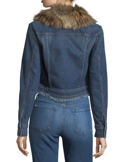 Cropped Button-Front Boyfriend Denim Jacker w/ Faux Fur
