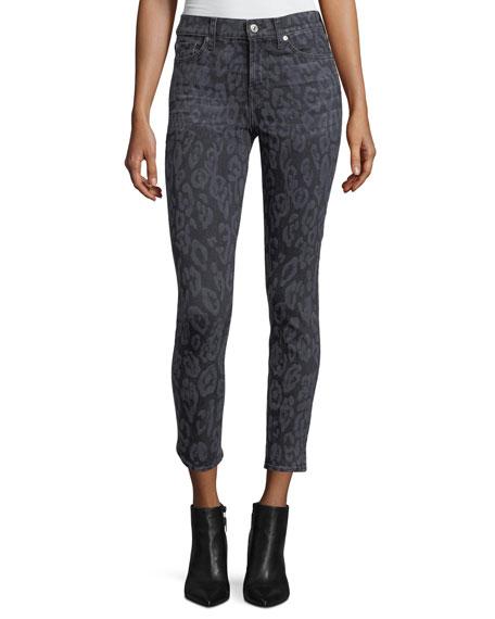 The Ankle Skinny Animal-Print Skinny Jeans