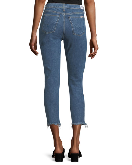 Riley Skinny-Leg Crop Jeans w/ Raw-Hem