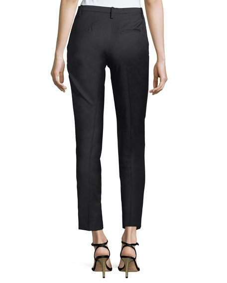 Brunilde Straight-Leg Wool Pants w/ Side Stripe