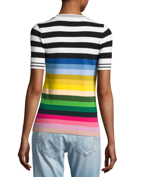 Margarite Short-Sleeve Striped Knit Top