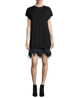 Olga Knitted Feather-Hem Cocktail Dress
