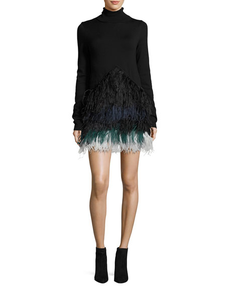 Adelfina Long-Sleeve Feathered Knit Dress
