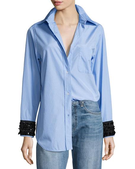 Hortensia Embellished-Cuffs Button-Front Shirt