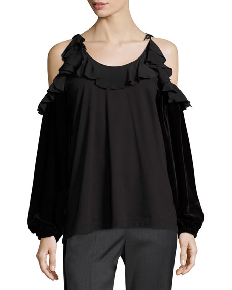 Tosca Cold-Shoulder Top w/ Ruffled Trim