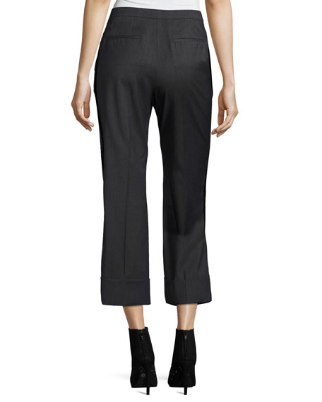 Paula Straight-Leg Mid-Rise Wool Pants