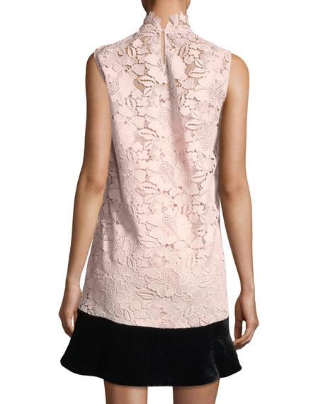 Simona High-Neck Sleeveless Lace Dress w/ Velvet Hem