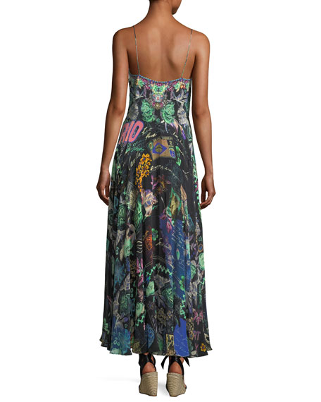 Sleeveless Tie-Front Printed Coverup Maxi Dress