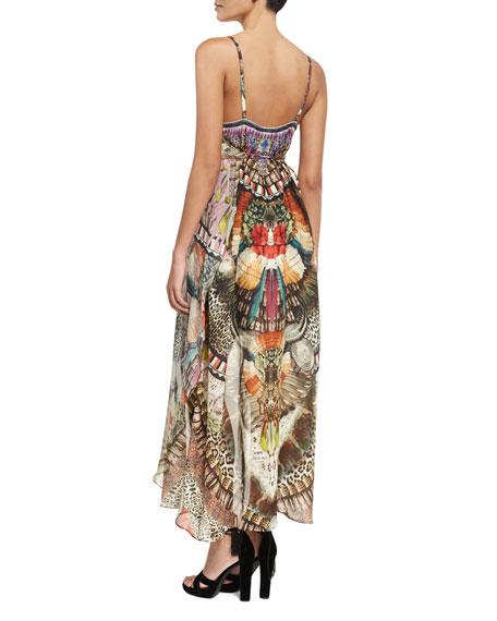 Sleeveless Square-Neck Embellished Mini Dress w/ Long Overlay