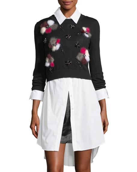 Wool Pullover w/ Fur Pompom Flowers