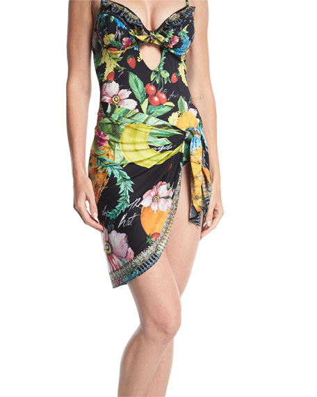 Tropical-Print Short Sarong Swim Coverup, One Size