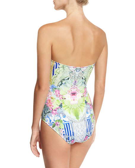 Bandeau Embellished One-Piece Swimsuit