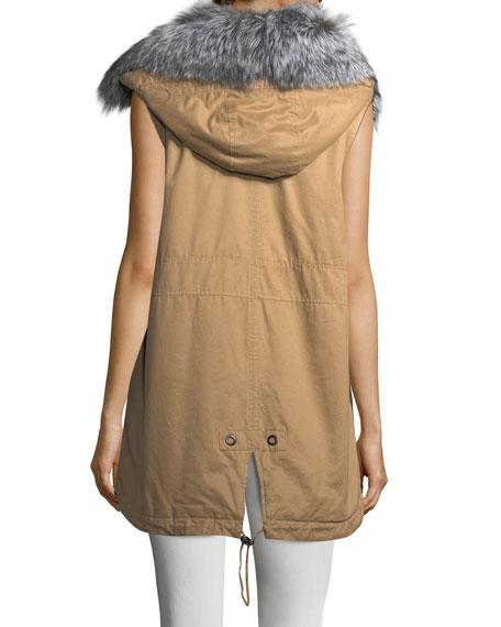Cotton Zip-Front Utility Vest w/ Fur Trim