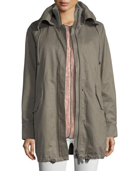 Zip-Front Cotton Utility Parka Jacket w/ Fox Fur Trim