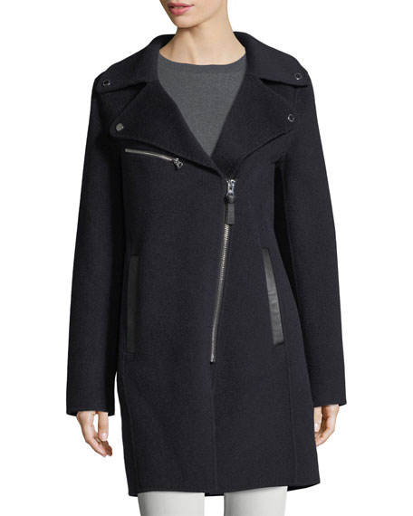 Notched-Collar Zip-Front Wool-Blend Coat