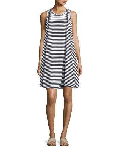 Sleeveless Striped Swing Jersey Dress