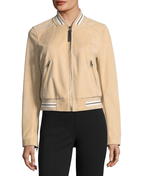 Leather Suede Bomber Jacket w/ Striped Rib
