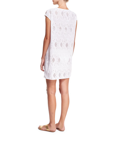 Broderie Cap-Sleeve Eyelet Coverup Dress