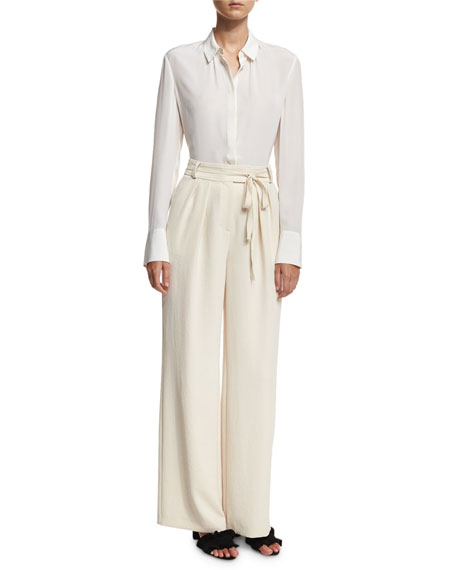 High-Waist Wide-Leg Belted Crepe Pants