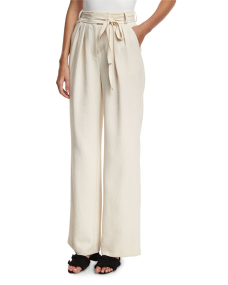 High-Waist Wide-Leg Belted Crepe Pants