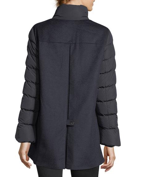 Drisser A-Line Zip-Front Down Wool Combo Coat
