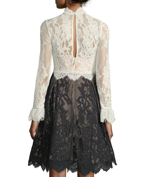 High-Neck Scalloped Lace Fit-and-Flare Cocktail Dress