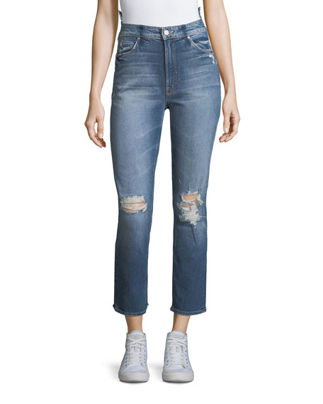 Mother Denim Dazzler Destroyed High-Waist Skinny-Leg Jeans
