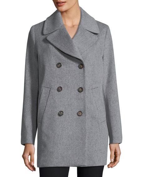Fleurette Double-Breasted Wool Boyfriend Pea Coat