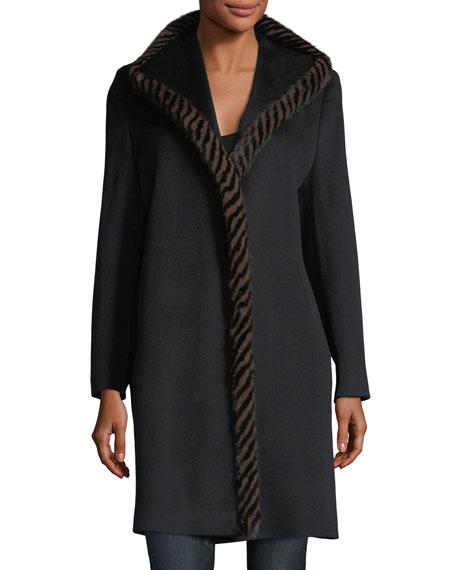 Magnetic Wool Coat w/ Spiral Mink Fur
