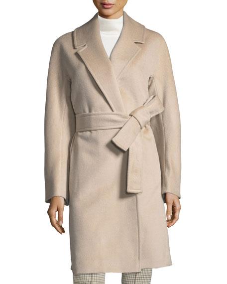 Kimono-Sleeve Notched-Collar Wool Wrap Coat