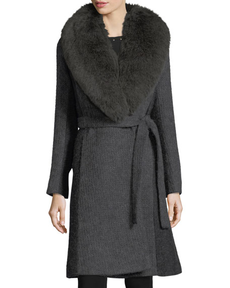 Wrap-Front Shawl-Collar Textured Knit Wrap Coat
