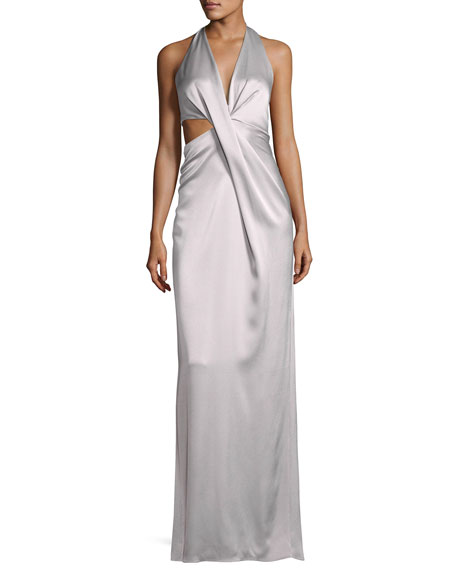 Halston Heritage Sleeveless Deep V Halter Draped Satin
